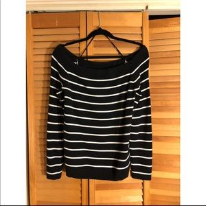 Black and White Striped Off The Shoulder Sweater
